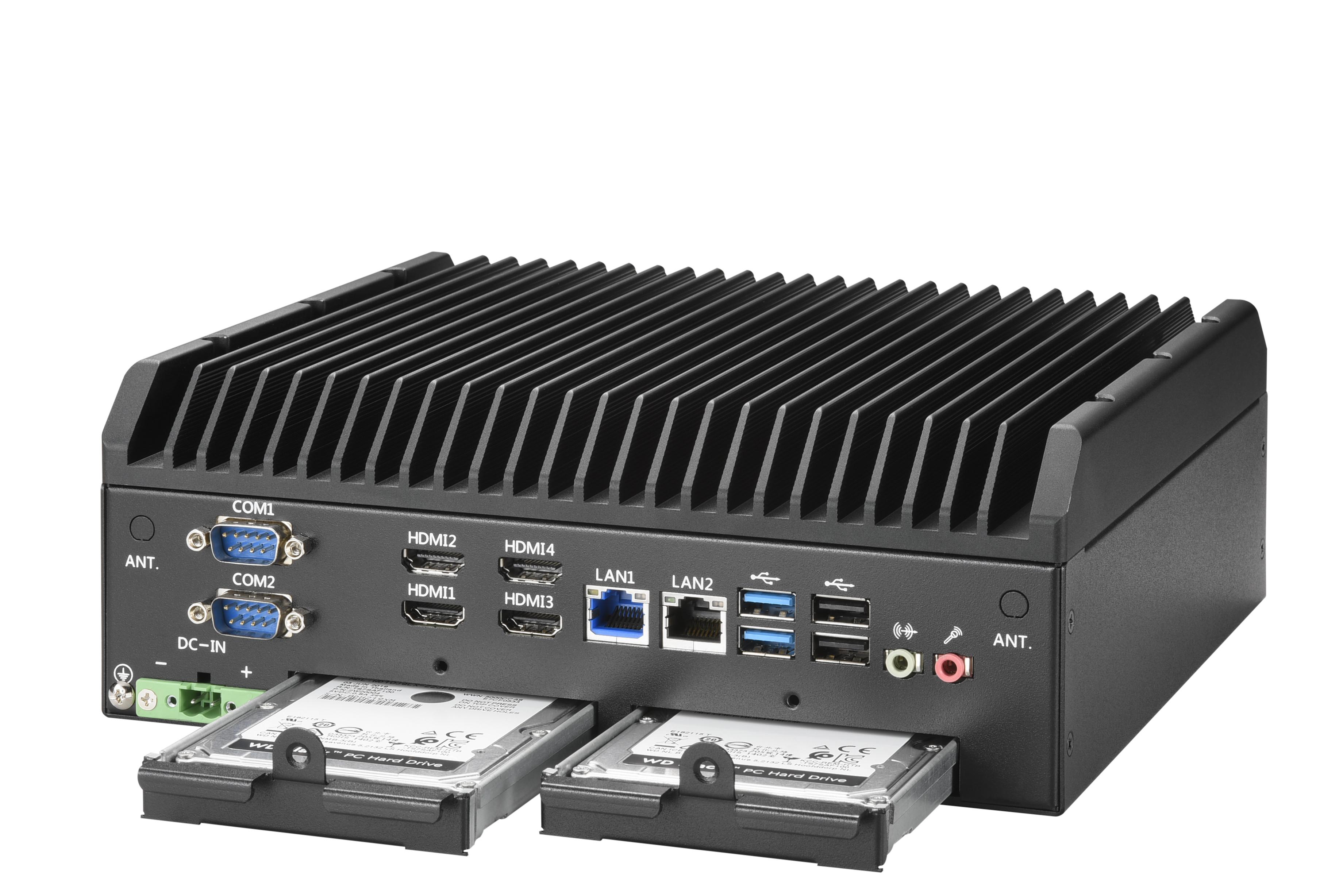 fanlessboxpc AIS-2024 Intel 11th Tiger Lake 4 HDMI Quad Display, RAID 0/1